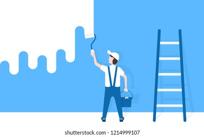 worker man paints wall near ladder. flat simple modern graphic whitewash art design. concept of male or handyman holding paintbrush and bucket like start overhaul project for shop or office restoring