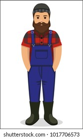 worker man in plaid shirt and jumpsuit flat icon - a man with a moustache, beard  wearing in jeans jumpsuit, plaid shirt, rubber boots and knit hat. Template for card, poster, banner, web-design