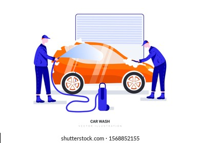 Worker man washing the car with a hose under high pressure on the car station. Can use for web banner, infographics, hero images. Flat style color modern vector illustration.