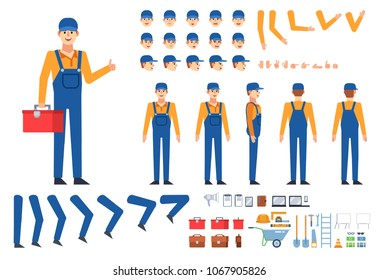 Worker, mechanic, builder in overalls creation kit. Create your own pose, action, animation. Various emotions, gestures, design elements. Flat design vector illustration