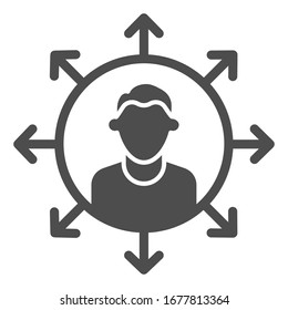 Worker multitasking solid icon. Finance efficient person with many arrows symbol, glyph style pictogram on white background. Business sign for mobile concept or web design. Vector graphics