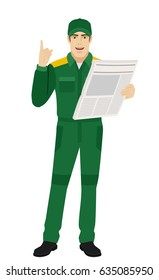 Worker with newspaper pointing up. Full length portrait of Delivery man or Worker Character in a flat style. Vector illustration.