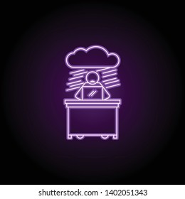 worker in no prospect neon icon. Elements of People in the work set. Simple icon for websites, web design, mobile app, info graphics