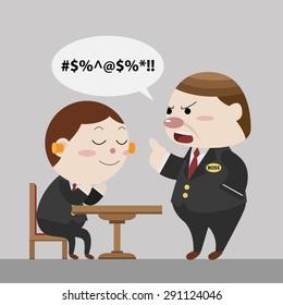 worker not interest boss blame cartoon vector