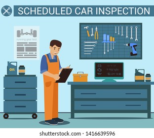 Worker with Notebook in Hand at Service Station. Auto Service. Computer Diagnostics. Uniformed Worker. Car Parts. Green Background and Text. Car Mechanic in Service Station. Vector Illustration.