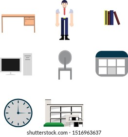 Worker office set 2d animation asset
