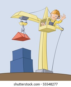 The worker on the crane lifts cargo