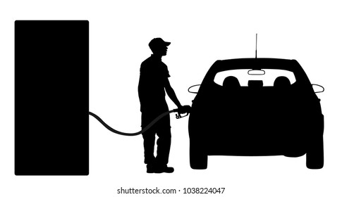 Worker on gas station fill the machine with fuel vector silhouette. Car fill with gasoline. Gas station pump. Man filling gasoline fuel in car holding nozzle.Pumping gasoline fuel in vehicle.