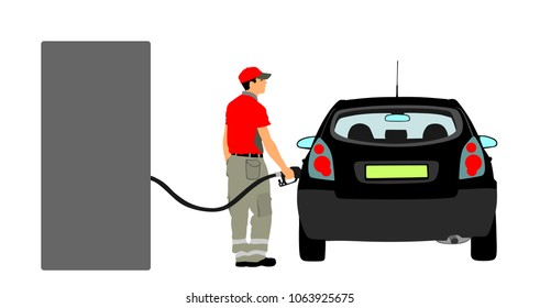 Worker on gas station fill the machine with fuel vector illustration. Car fill with gasoline. Gas station pump. Man filling gasoline fuel in car holding nozzle.Pumping gasoline fuel in vehicle.