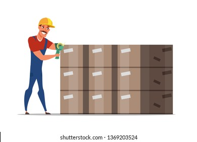Worker packing boxes cartoon character. Handymen loading cardboard containers. Storehouse, warehouse employee using adhesive tape. Distribution, logistics, shipment isolated clipart