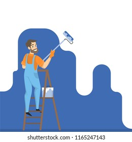 Worker painting the wall with blue paint and roller. Smiling man decorating room. Isolated vector illustration in cartoon style