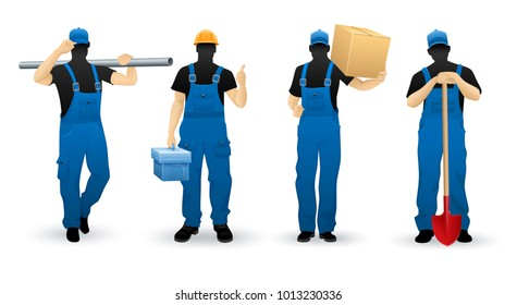 Worker people set of man cartoon personage silhouettes various professions in uniform overalls, isolated white background. Eps10 vector illustration.
