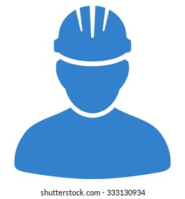 Worker Person vector icon. Style is flat symbol, cobalt color, rounded angles, white background.