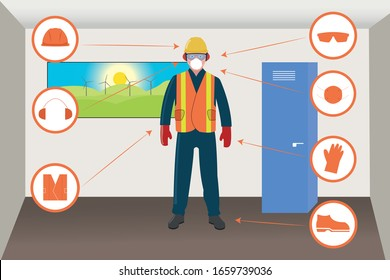 Worker With Personal Protective Equipments and Safety Icons in Factory Changing Room.