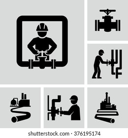 Worker and pipeline vector icons