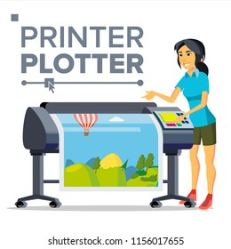 Worker With Plotter Vector. Woman. Prints Beautiful Picture, Banner. Print Service. Isolated Flat Cartoon Illustration