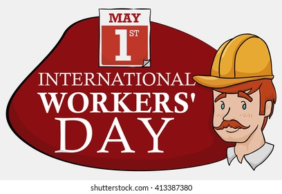 Worker portrait with date and reminder of Workers' Day sign in cartoon style.