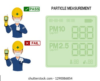 Worker is presenting result(pass and fail) of Particle measurement measurement.On the display screen of Particle detector can be assigned number easily.