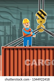 A worker in a protective helmet stands on the roof of a cargo container suspended from a crane and manages the loading. Vector illustration