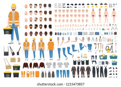 Worker or repairer DIY kit. Collection of male cartoon character body parts, facial expressions, gestures, clothes, working tools isolated on white background. Colorful flat vector illustration.