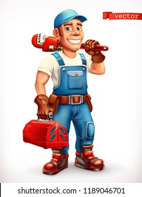 Worker. Repairman, cheerful character. 3d vector icon.