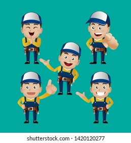 worker. repairman.handyman with different poses