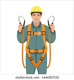 worker safety belts , vector illustration , flat style, front side