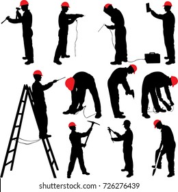 worker silhouettes collection - vector