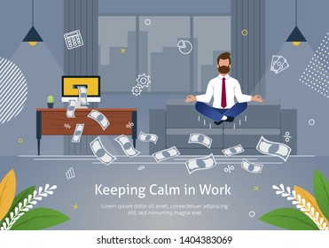 Worker in Suit Doing Yoga Trying to Keep Calm and to Reach Success and Earn Salary Banner Vector Illustration. Cartoon Character in Spiritual Zen Balance or Lotos Position. Flying Money from Computer.