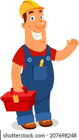 Worker with toolbox vector illustration. Cartoon style.