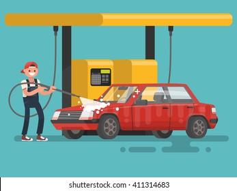 Worker washing a car at the carwash. Vector illustration