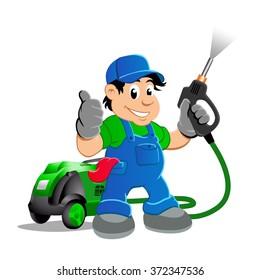 Worker with water blaster pressure power washing sprayer