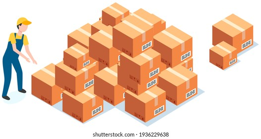 Worker wearing work clothes reloading boxes from stack. Cardboard parcels for shipment from china
