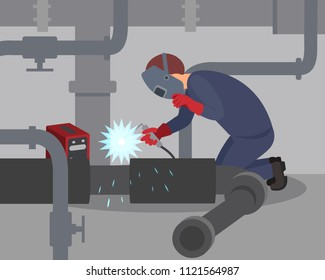 Worker welds large metal pipes at basement. Professional welder at work. Man in protective mask and gloves. Flat vector design