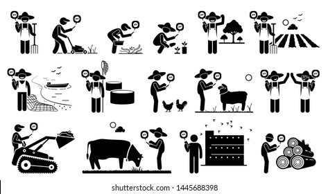 Workers from agriculture industry using mobile app technology with their smart phone. Vector artwork depicts, farmer, fisherman, gardener, swiftlet owner, and logger holding a smart phone for work.