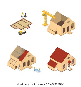Workers building a large wooden house with red roof. Home construction stages. Window installation and roof constructing. Isolated isometric vector illustration