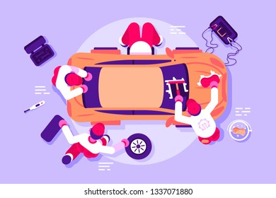 Workers in car service checking vehicle. Men repairing and polishing crashed automobile vector illustration. Team of mechanics working at workshop. Auto parts toolbox battery charging flat concept