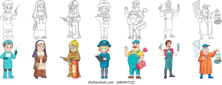 Workers. Cartoon clipart set for kids activity coloring book, t shirt print, icon, logo, label, patch or sticker. Vector illustration.