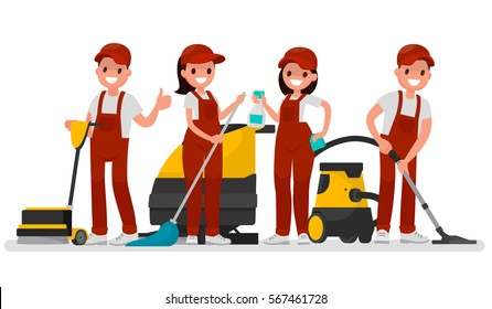 Workers of cleaning company. Vector illustration in a flat style
