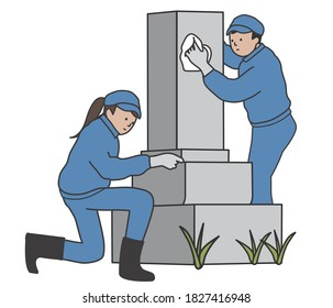 The Workers cleaning a grave stone.