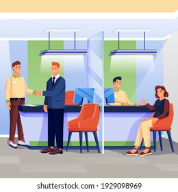 Workers and clients in bank office scene. Finance services, business department vector illustration. Financial workplace interior background. Woman talking with employee at desk, men shaking hands.