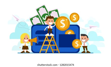 Workers collect money.