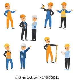 Workers at the construction site set. Raster illustration in flat cartoon style
