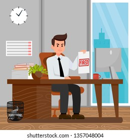Workers Dismissal Cartoon Vector Illustration. Fired Red Stamp on Paper. Angry Boss Holding Document. Computer on Desk. Window in Office. Employer Character Sitting at Table. Clock, Calendar on Wall