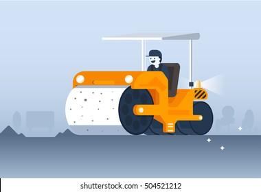 Workers drive Steamroller on new road. steamroller illustration with flat design. steamroller vector. orange steamroller. flat steamroller design. steamroller background. steamroller banner.
