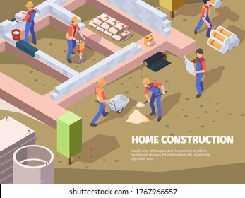 Workers foundation building. Architects and builders construct house engineers working vector isometric background