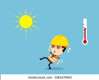 Workers with high temperature and risk of heatstroke, Vector illustration, Safety and accident, Industrial safety cartoon