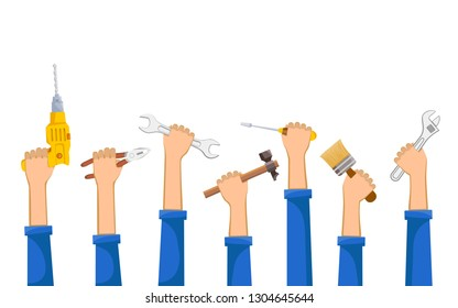 Workers hold industrial tools wrench, pliers, hammer, screwdriver in their hands. Isolated on white background. Vector illustration.