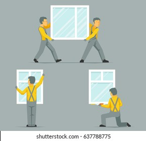 Workers install carry house windows building glass icons set flat design template vector illustration