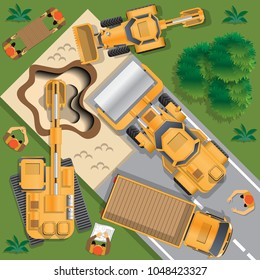 The workers make the road. View from above. Vector illustration.